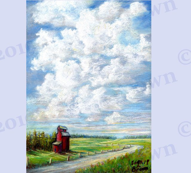 Canadian Prairie Skies 9 x 12 inch Pastel Art image by Artist Joan A Brown