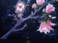 Magnolia Tree Flowers Acrylic 8 x 10 inch Painting image by Artist Joan A Brown