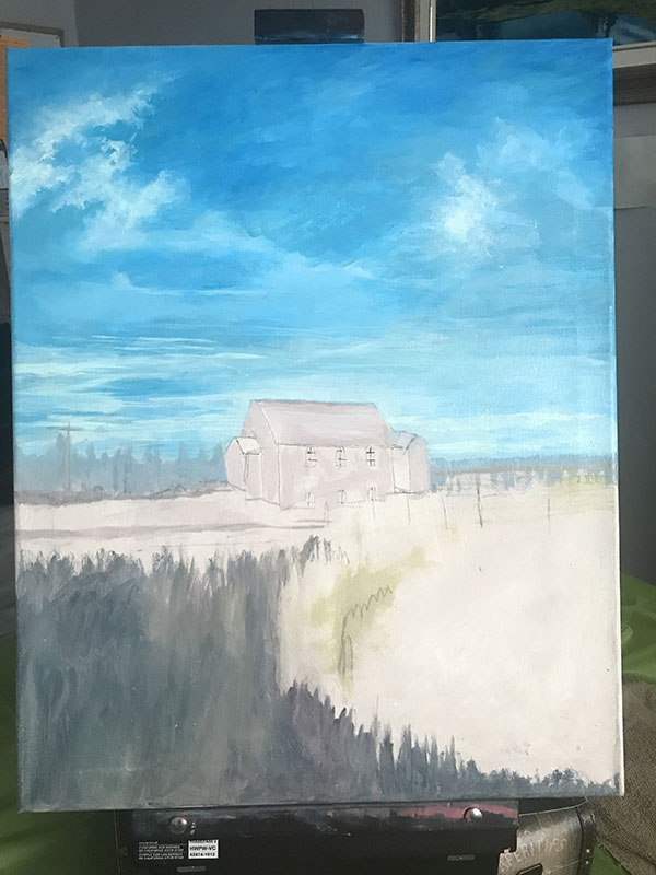 Artist Joan A Brown House on the Praire commission acrylic painting image