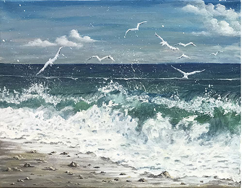 Seascape Seashore Seagulls by Artist Joan A Brown image