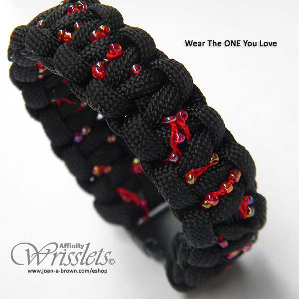 Artist Joan A Brown Affinity Wrisslets© Black Embellished buckle paracord bracelet