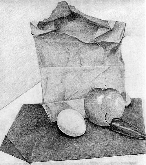 Original Lunch One Day Pencil Drawing by Artist Joan A Brown