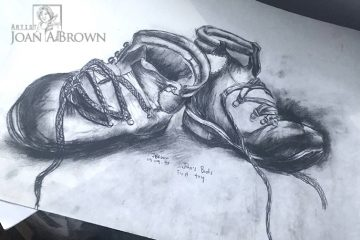 Bill's old hiking boot by Artist Joan A Brown Charcoal image
